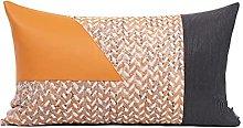 Orange Leather Decorative Cushion Covers 30cm X
