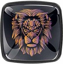 Orange Lion Head Dresser Crystal Knobs - Glass