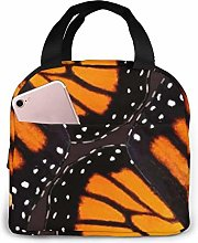 Orange Monarch Butterfly Wings Insulated Lunch Bag