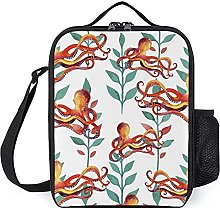 Orange Octopus Pattern Insulated Lunch Boxes