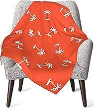 Orange Palm Tree Baby Blanket Double Layer Super
