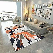 Orange pattern Area Rug Non Skid Rug,Soft Bedrooms