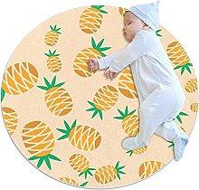Orange Pineapple, Round Area Rug Pattern Round