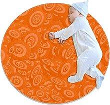 Orange, Printed Round Rug for Kids Family Bedroom
