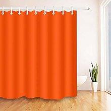 Orange Red Shower Curtain Plain Color Print for