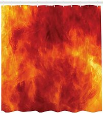 Orange Shower Curtain Fire and Flames Design Print