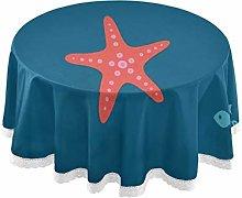 Orange Starfish Round Linen Tablecloth Overlay