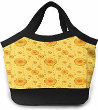 Orange Sunflower Women Portable Lunch Bag Tote