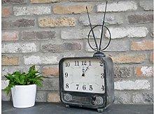 Orange Tartan Retro TV Style Shelf Clock | Battery