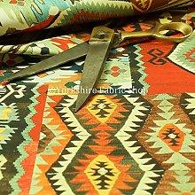 Orange Tribal Patchwork Pattern Velour Velvet