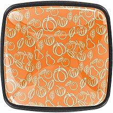 Orange Vegetables Square Cabinet Knobs 4pcs Knobs