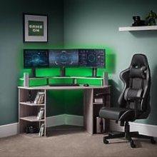 Orbit Grey Oak Wooden Corner Gaming Desk