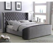 Oregon Velvet Upholstered King Size Bed In Silver