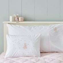 Organic-Cotton Millie Mouse Cushion, White/Pink,