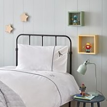 Organic-Cotton Spaceman Bed Linen Set, White/Blue,