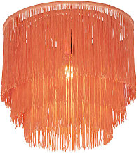 Oriental ceiling lamp gold pink shade with fringes