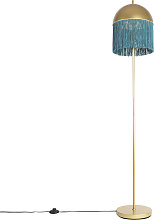 Oriental floor lamp gold with green fringes 30 cm