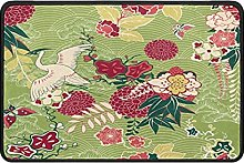 Oriental Floral Doormat Rug Easy to Clean Non Slip