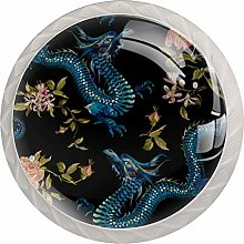 Oriental Floral with Dragons and Gold Roses