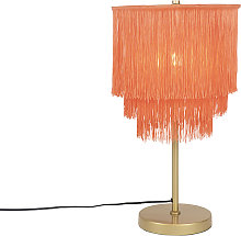 Oriental table lamp gold pink shade with fringes -