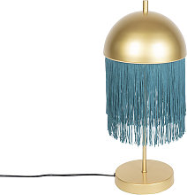 Oriental table lamp gold with green fringes -