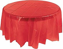 Oriental Trading Round Plastic Tablecloth, Red