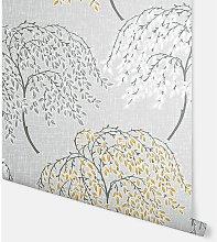 Oriental Tree Ochre & Grey Wallpaper 908402 -
