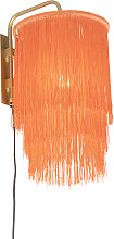 Oriental wall lamp gold pink shade with fringes -