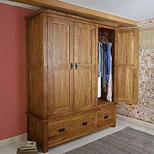 Original Rustic Solid Oak Triple Wardrobe