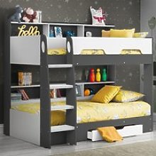 Orion Grey and White Wooden Storage Bunk Bed Frame