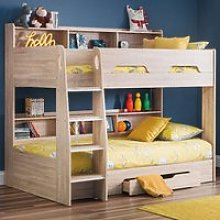 Orion Oak Wooden Storage Bunk Bed Frame Only - 3ft