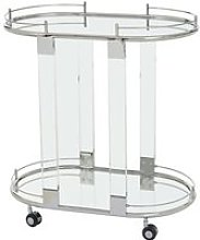 Orizone Mirrored Drinks Trolley With Silver Frame