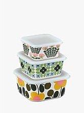Orla Kiely Flower Bamboo Food Storage Boxes, Set