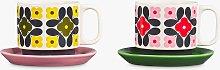 Orla Kiely Flower Tile Cup & Saucer, Set of 2,