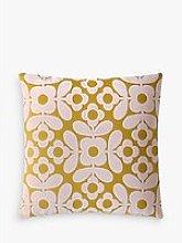 Orla Kiely Flower Tile Velvet Cushion, Citrine /