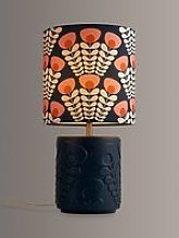 Orla Kiely Pink Stem Ceramic Table Lamp, Navy/Pink