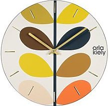 Orla Kiely Wooden Wall Clock With Multi-Stem Detail