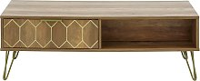 Orleans 2 Drawer Coffee Table - Mango Wood Effect