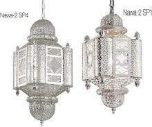 Ornamental hanging lamp with metal and silver