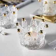 OSALADI 2Pcs Crown Glass Candle Holders Tea Light
