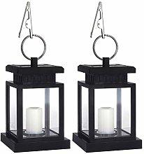 OSALADI 2PCS Solar Candle Light With Lantern For