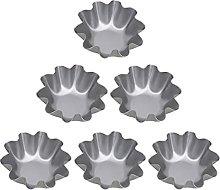 OSALADI 6Pcs Egg Tart Molds Aluminum Alloy Flower