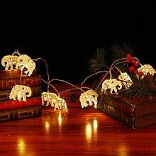 OSALADI LED Elephant String Light Battery Operated