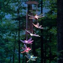OSALADI Solar Dragonfly Wind Chimes Mobile LED
