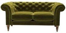 Oscar 2 Seat Sofa in Olive Cotton Matt Velvet