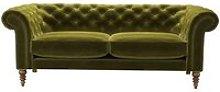 Oscar 3 Seat Sofa in Olive Cotton Matt Velvet