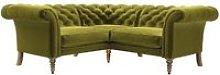 Oscar Small Corner Sofa in Olive Cotton Matt Velvet