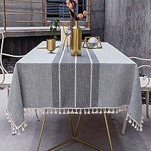 OstepDecor Square Stitching Tassel Tablecloth -