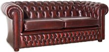 Ostrander Leather 3 Seater Chesterfield Sofa