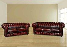 Othello Chesterfield 2 Piece Leather Sofa Set